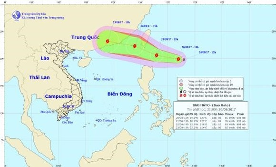 Position of typhoon Hato on the East Sea.