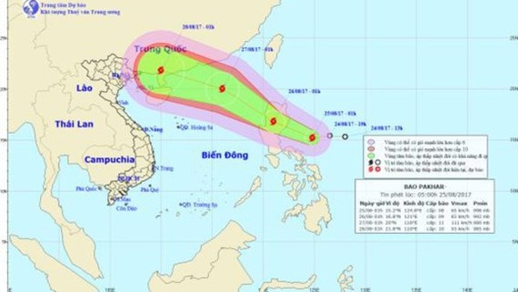 Position of typhoon Pakhar (Photo: the National Hydrology Meteorology Forecast Center)