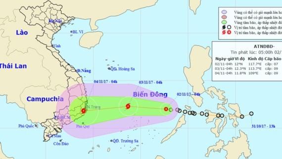 Position of typhoon Xangsane in East Sea