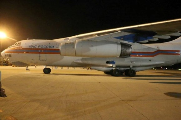 A large- sized plane of Russian Federation RA-76363 carrying 40 tons of humanitarian cargoes lands in Cam Ranh airports