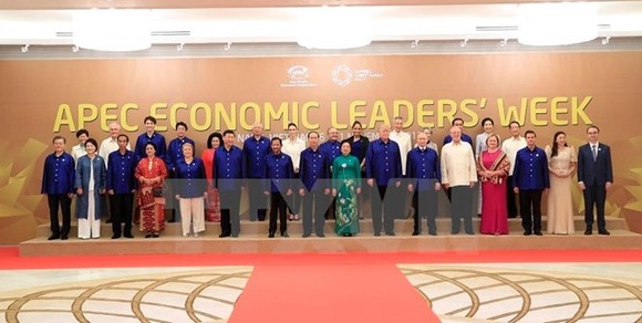 Delegation heads to the APEC Economic Leaders' Week pose for a group photo at a Gala Dinner on November 10 (Source: VNA)