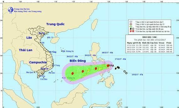 Position of typhoon Kai-tak in the East Sea (Photo: NHMFC)