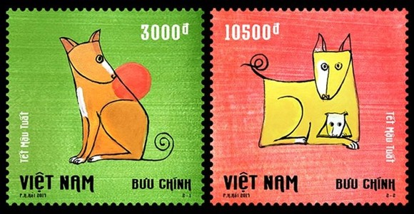 The use of bright and bold colours intends to rouse in people festive feelings and merry wishes for the upcoming Lunar New Year (Photo: vnpost.vn)