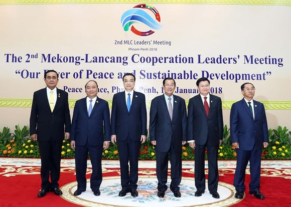 Leaders of the six countries of the Mekong-Lancang cooperation pose for a photo (Photo: VNA)
