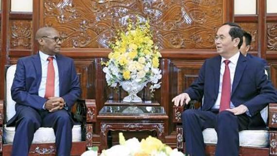President Tran Dai Quang (R) and South African Ambassador Mpetjane Kgaogelo Lekgoro (Photo:VNA)