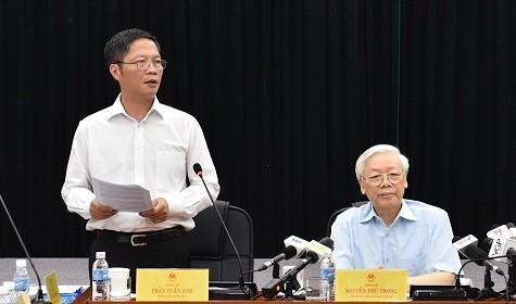 Tổng Bí thư Nguyễn Phú Trọng làm việc tại Bộ Công thương ảnh 1
