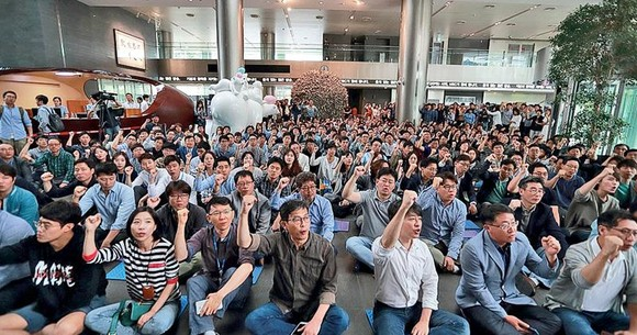 韓國文化放送(MBC)工會會員上周三在首爾總社外集會。(圖源:互聯網)