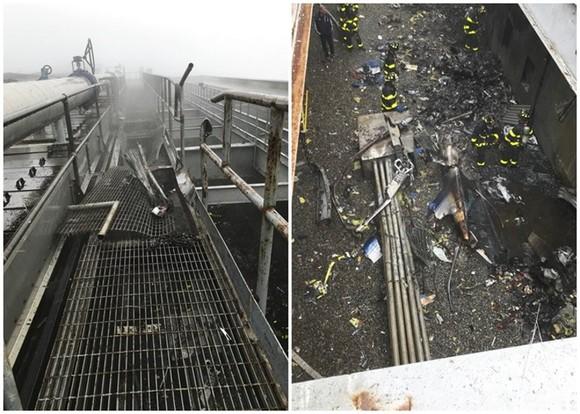 直升機墜毀在大樓頂部。(圖源:AP)