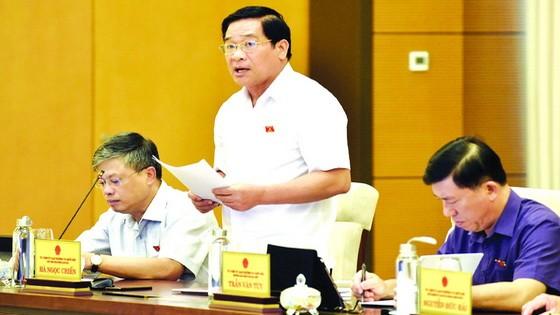 國會的民族理事會主席、監察團長何玉戰在會議上發言。(圖源:越通社)