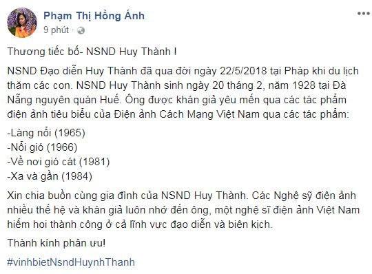Đạo diễn phim Nổi gió – NSND Huy Thành đột ngột qua đời ảnh 1