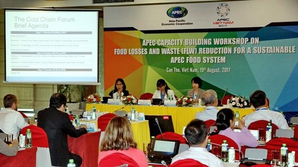 "Experts share insights and experiences on reducing food loss and waste at a capacity-building workshop on ""Food Losses and Waste Reduction for a Sustainable APEC Food System"" on August 19 in Can Tho. (Photo: VNA/VNS)"
