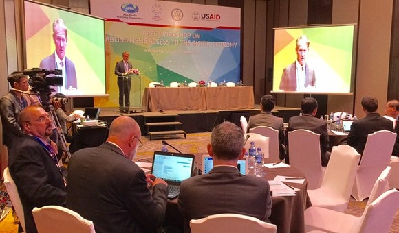 Delegates from APEC-member economies meet at an APEC workshop on enabling MSMEs better access to the digital economy, held on Tuesday in HCM City. (Photo: VNS)