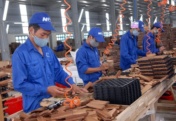 A wood processing line at the Nam Dinh Forest Product Joint Stock Company at Bao Minh Industrial Park. The wood sector is expected to surpass its export target this year. (Photo: VNA/VNS)