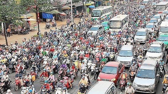 A traffic jam in HCMC