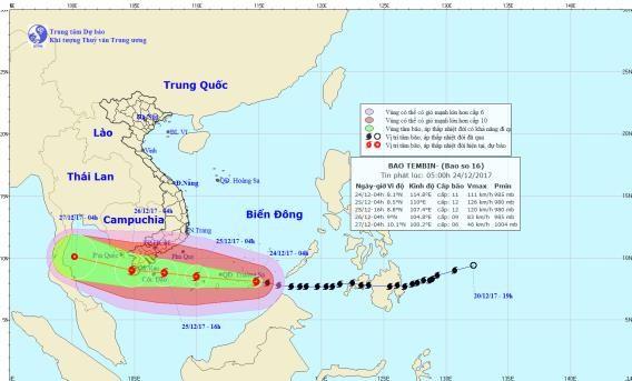Direction of Typhoon Tembin on December 24 (Photo: national weather bureau)