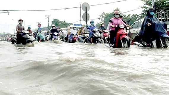 High tide causes street flood in HCMC (Photo: SGGP)