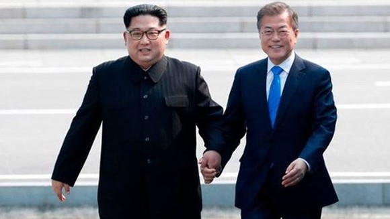 Tổng thống Hàn Quốc Moon Jae-in và lãnh đạo Triều Tiên Kim Jong-un