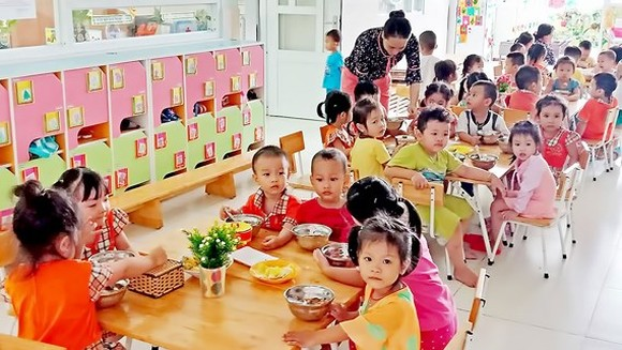 Một lớp học dành cho con công nhân tại Trường Mầm non Khu chế xuất Tân Thuận
