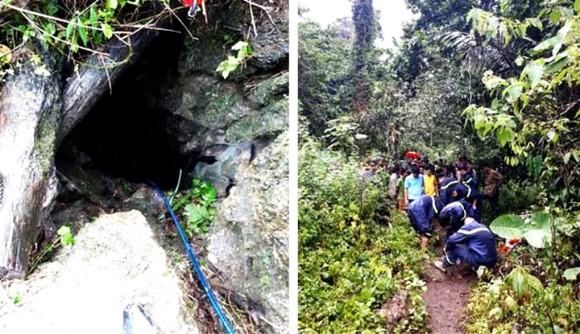 Khu vực hang đá ở xóm Ngọc Sơn II, nơi xảy ra vụ ngạt khí làm 3 người thiệt mạng