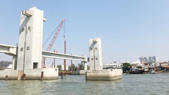 Hệ thống cống ngăn triều Mương Chuối (huyện Nhà Bè) đang hoàn thiện