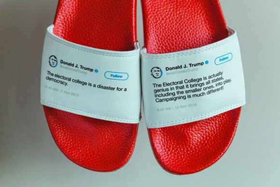 Mẫu dép in dòng tweet của Tổng thống D. Trump.