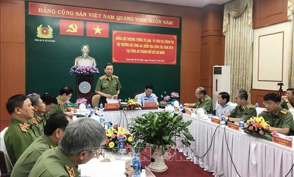 Thượng tướng Tô Lâm, Ủy viên Bộ Chính trị, Bộ trưởng Bộ Công an phát biểu. Ảnh: TTXVN