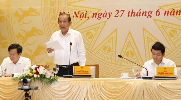 Phó Thủ tướng Thường trực Trương Hòa Bình phát biểu chỉ đạo hội nghị. Ảnh: TTXVN