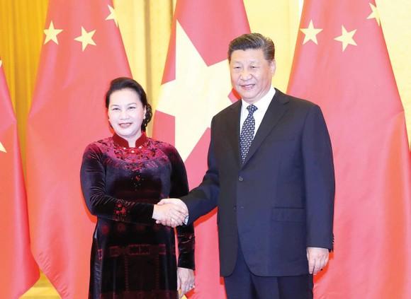 Chủ tịch Quốc hội Nguyễn Thị Kim Ngân hội kiến Tổng Bí thư, Chủ tịch Trung Quốc Tập Cận Bình. Ảnh: TTXVN