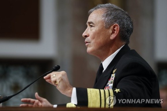 In this photo taken by the EPA on April 27, 2017, Adm. Harry Harris, commander of the U.S. Pacific Command, testifies at the Senate Armed Forces Committee in Washington, D.C. (Yonhap)