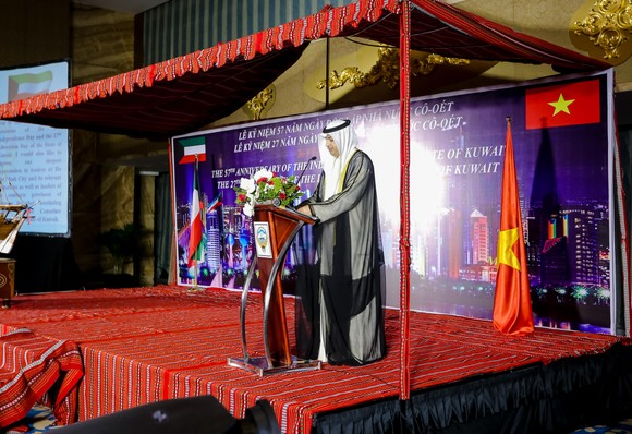 The Consul General of the State of Kuwait in HCMC, Khaled Falah Al-Mutairi gives a speech at the meeting