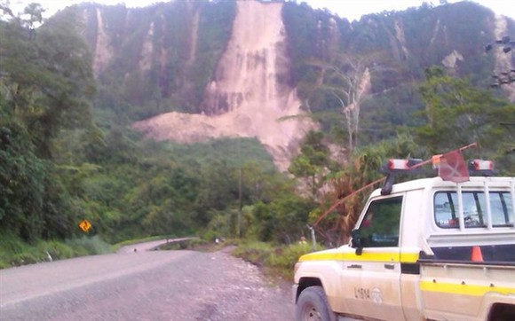 A road near the township of Tabubil was damaged in a landslide that was sparked by a strong earthquake yesterday. The bodies of three people killed by a massive earthquake in Papua New Guinea have been taken to Mendi hospital in the Southern Highlands. —