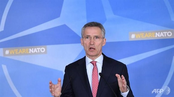 NATO Secretary-General Jens Stoltenberg addresses the press at NATO headquarters in Brussels on March 27, 2018. — AFP Photo