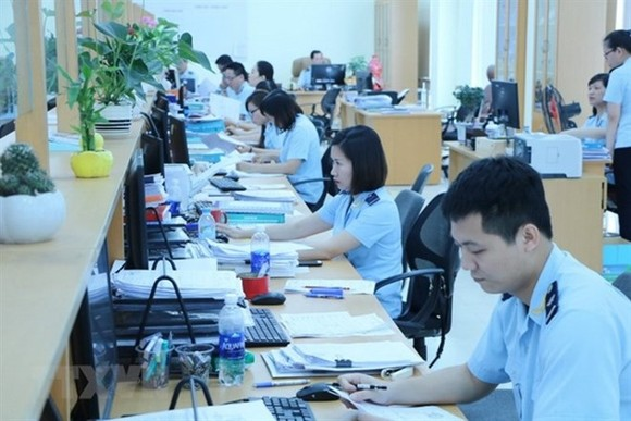 Customs officials work at Dinh Vu customs branch (Photo: VNA)