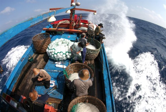Vietnamese fishermen on an offshore fishing trip. — VNA/VNS Photo Xuân Trường