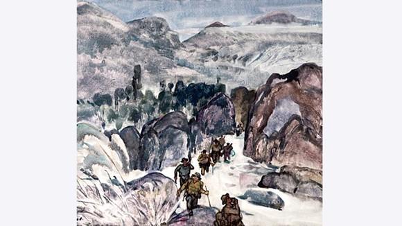Đường Trường Sơn theo dòng suối (sáng tác 1995, thuốc nước trên giấy), của họa sĩ Nguyễn Thanh Châu