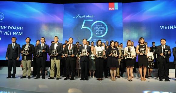 Ông Lê Viết Hải, Chủ tịch HĐQT – Tổng giám đốc Công ty CP Tập đoàn Hòa Bình (người thứ sáu từ trái sang) nhận danh hiệu Top 50 Công ty kinh doanh hiệu quả nhất Việt Nam 2018