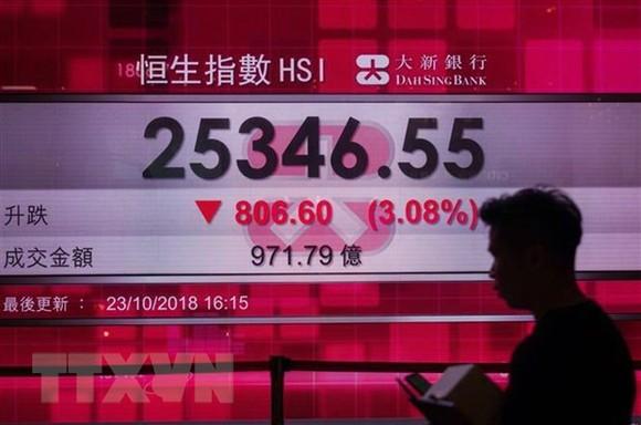 Bảng tỷ giá chứng khoán tại Hong Kong, Trung Quốc. (Nguồn: AFP/TTXVN)