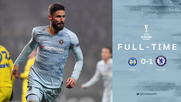 Giroud ghi bàn thắng duy nhất, giúp Chelsea đánh bại BATE 1-0