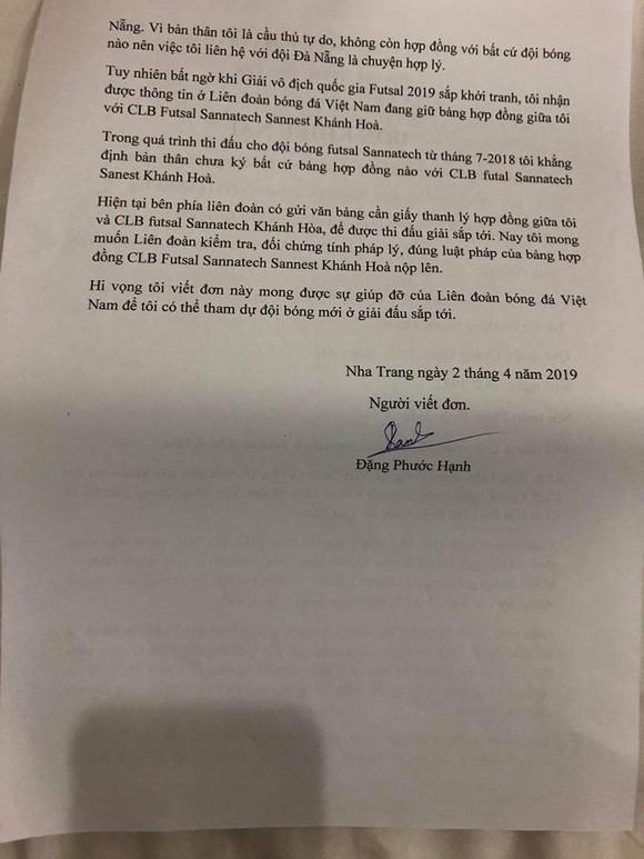 CLB futsal Sanatech Khánh Hòa bị cầu thủ nộp đơn khiếu nại lên VFF ảnh 2