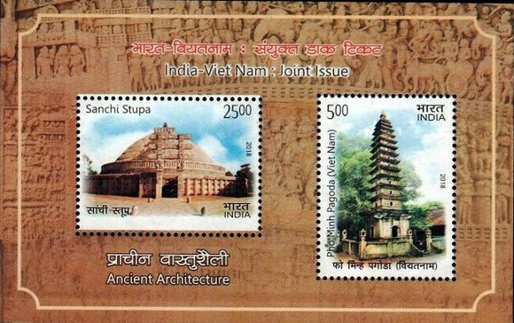 The set of commemorative postage stamps featuring ancient architecture of Vietnam and India (Source: http://rainbowstampclub.blogspot.com)