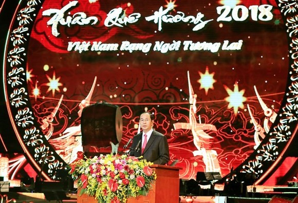 President Tran Dai Quang at the Xuan Que Huong (Homeland Spring) 2018 festival. (Photo: VNA)