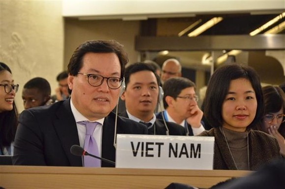 Vietnamese Ambassador Duong Chi Dung at the 37th session of the UN Human Rights Council (Source: VNA)