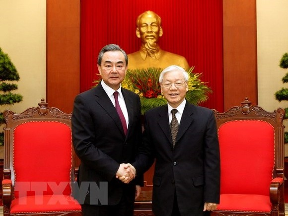eneral Secretary of the Communist Party of Vietnam Nguyen Phu Trong (R) receives Chinese State Councillor and Foreign Minister Wang Yi in Hanoi on April 2 (Photo: VNA)