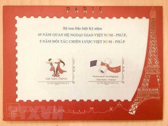 Postage stamps marks the 45th anniversary of Vietnam-France