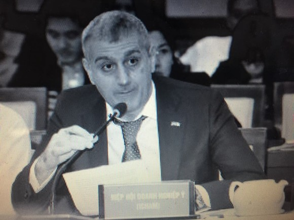 A representative of Icham speaks at the meeting . (Photo: Sggp)