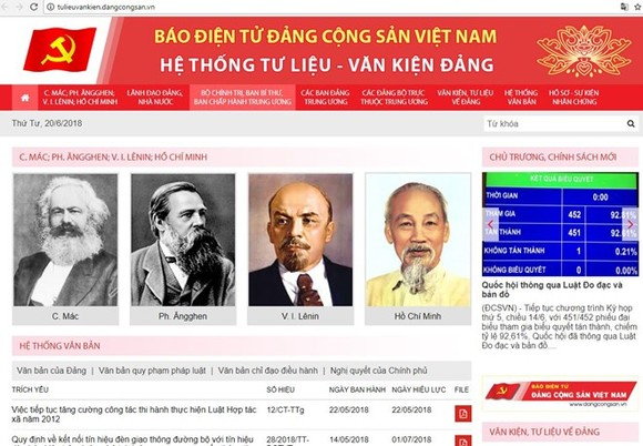 The Communist Party of Vietnam (CPV) Online Newspaper's new website (Photo: tulieuvankien.dangcongsan.vn)