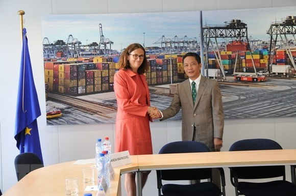Vietnamese Minister of Industry and Trade Tran Tuan Anh (R) shakes hands with EU Commissioner for Trade Cecilia Malmstrom