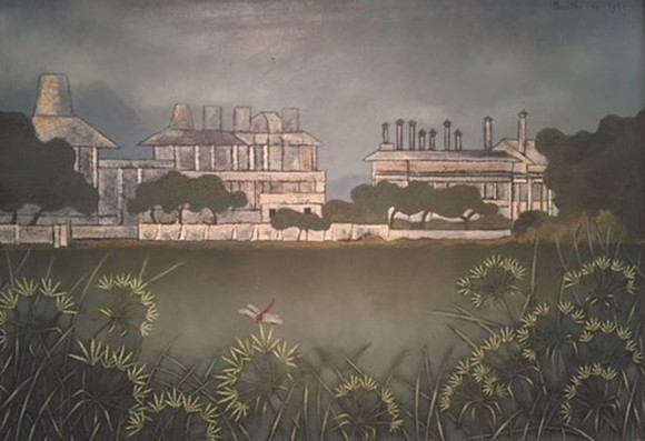 "The painting titled ""Factory and river"" by painter Buu Chi"