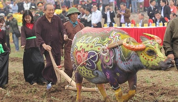 Deputy Prime Minister Truong Hoa Binh attends Tich Dien (ploughing) festival. (Photo: VGP)