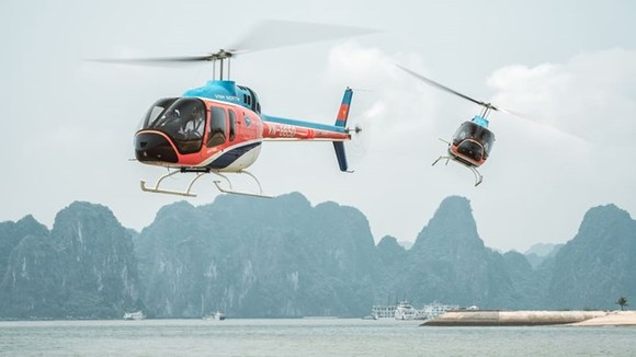 Two Bell 505 helicopters are used for the Ha Long Bay scenic flight service. (Source: CNN)